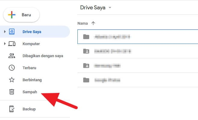 Menu Sampah Google Drive