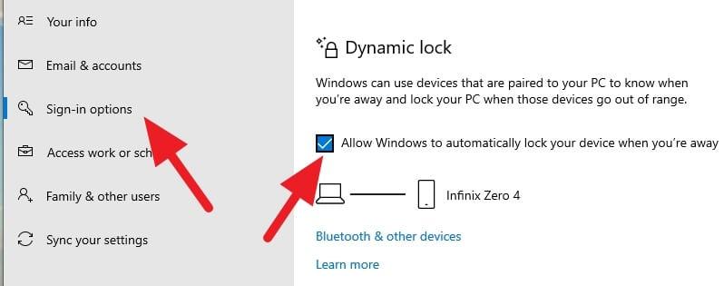 Dynamic lock aktif Cara Mengunci Windows 10 dengan Android (Bluetooth) 10 Dynamic lock aktif