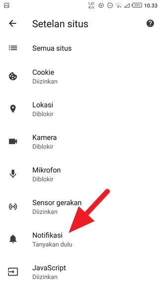 Pengaturan Notifikasi Chrome Cara Blokir Notifikasi Mengganggu di Chrome Android 5 Pengaturan Notifikasi Chrome
