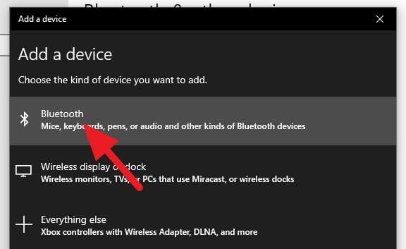 Pilih Bluetooth Cara Mengunci Windows 10 dengan Android (Bluetooth) 5 Pilih Bluetooth