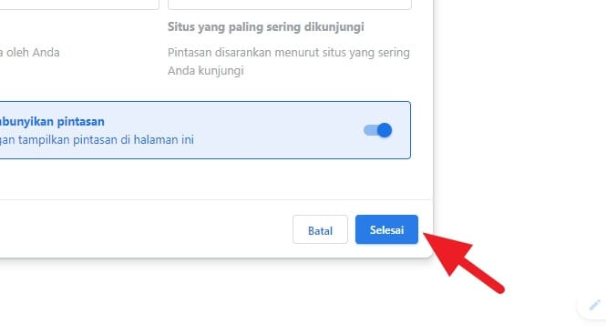 Selesai Cara Menghilangkan Shortcut Website di Tab Baru Chrome 5 Selesai