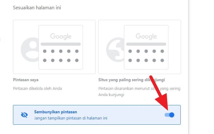 Sembunyikan pintasan Cara Menghilangkan Shortcut Website di Tab Baru Chrome 4 Sembunyikan pintasan