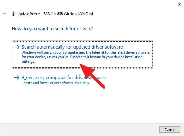 Search automatically for updated driver software 1 5 Cara Mengembalikan WiFi yang Hilang di Windows 10 15 Search automatically for updated driver software 1