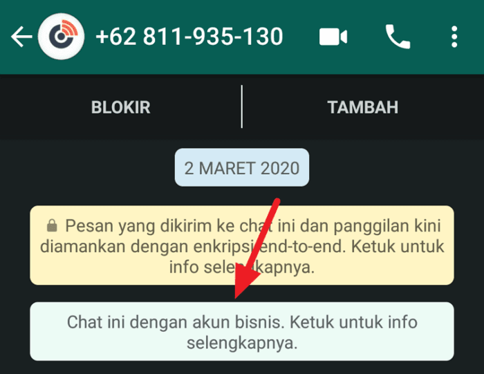 Chat dengan akun bisnis 3 Cara Mengetahui WhatsApp Akun Bisnis 1 Chat dengan akun bisnis