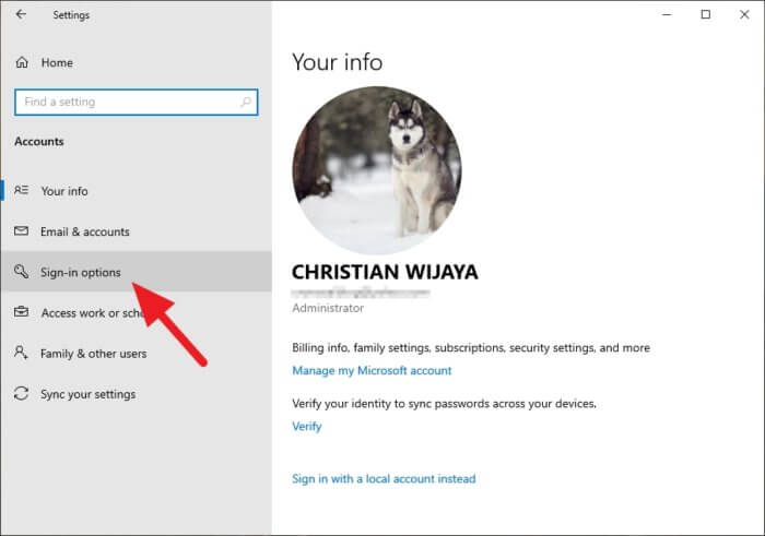 sign in options Cara Aktifkan Picture Password di Windows 10 3 sign in options