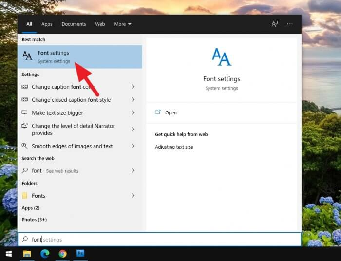 Font settings Cara Mudah Instal Font Baru di Windows 10 4 Font settings