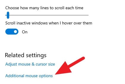 Additional mouse options Cara Mudah Mengganti Kursor di Windows 10 6 Additional mouse options