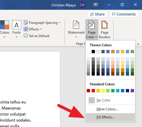 Fill effects Cara Mengganti Warna Background Kertas di Microsoft Word 7 Fill effects
