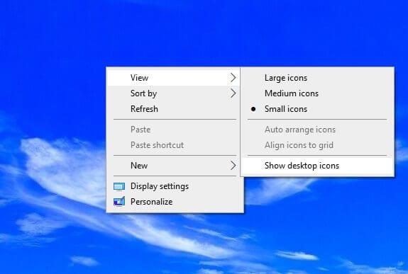 Show desktop icons 1 Cara Menyembunyikan Icon Desktop di Windows 3 Show desktop icons 1