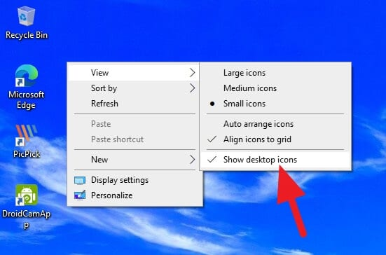 Show desktop icons Cara Menyembunyikan Icon Desktop di Windows 1 Show desktop icons