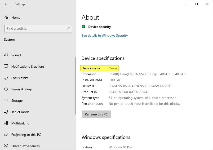 Device name Cara Ganti Nama Laptop/PC di Windows 10 7 Device name
