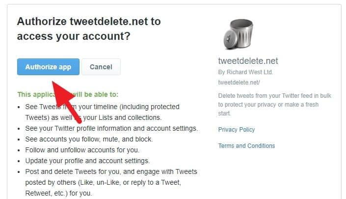 Authorize app Cara Cepat Hapus Semua Tweet di Akun Twitter 2 Authorize app