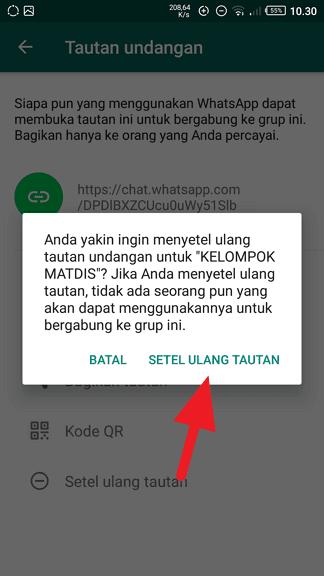 Konfirmasi setel ulang tautan Cara Membuat Link Undangan Grup WhatsApp 7 Konfirmasi setel ulang tautan