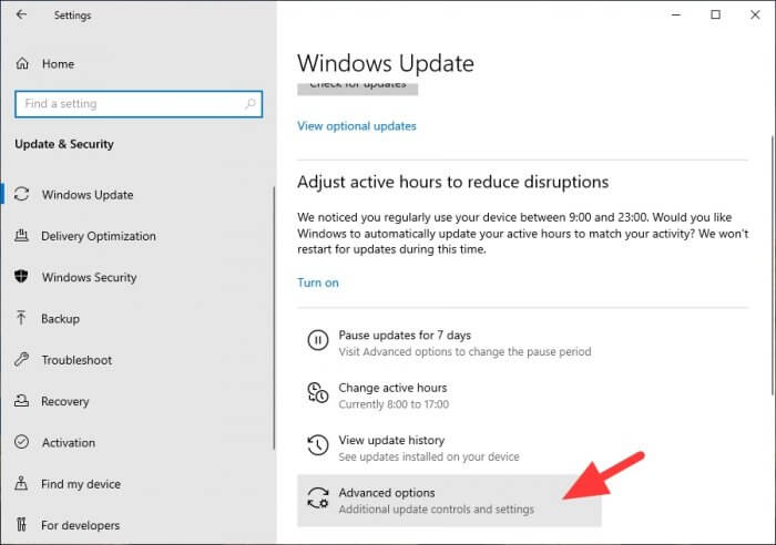 Advanced options Cara Mematikan Update Windows 10 Secara Permanen 8 Advanced options