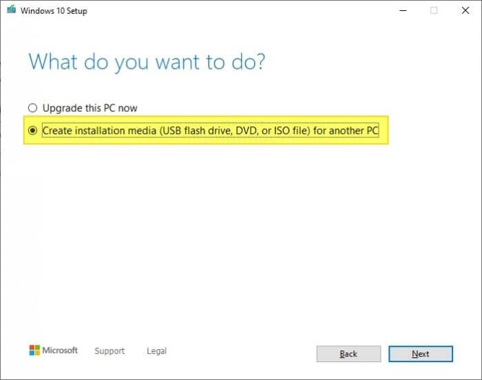 Create installation media Cara Membuat Bootable Windows 10 di Flash Disk 5 Create installation media