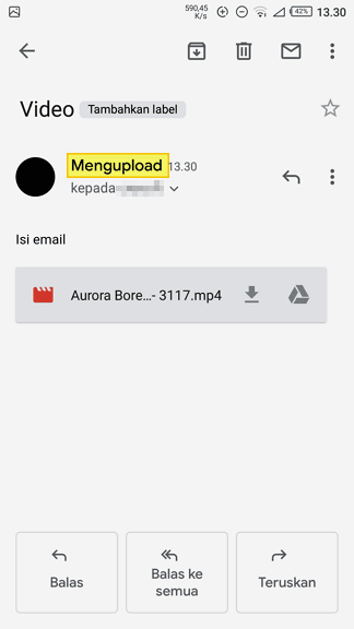 Mengupload video Cara Mengirim Video Lewat Aplikasi Gmail di Android 6 Mengupload video
