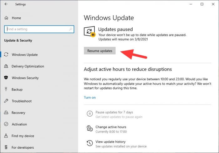 Resume updates Cara Mematikan Update Windows 10 Secara Permanen 10 Resume updates
